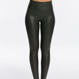 Spanx Black Faux Leather Leather Leggings